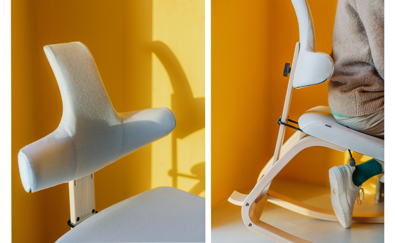 two detailed images of Thatsit back rest and curved wooden runners on a yellow background
