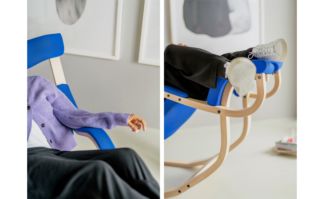two detailed images of Gravity armrest and curved wooden runners