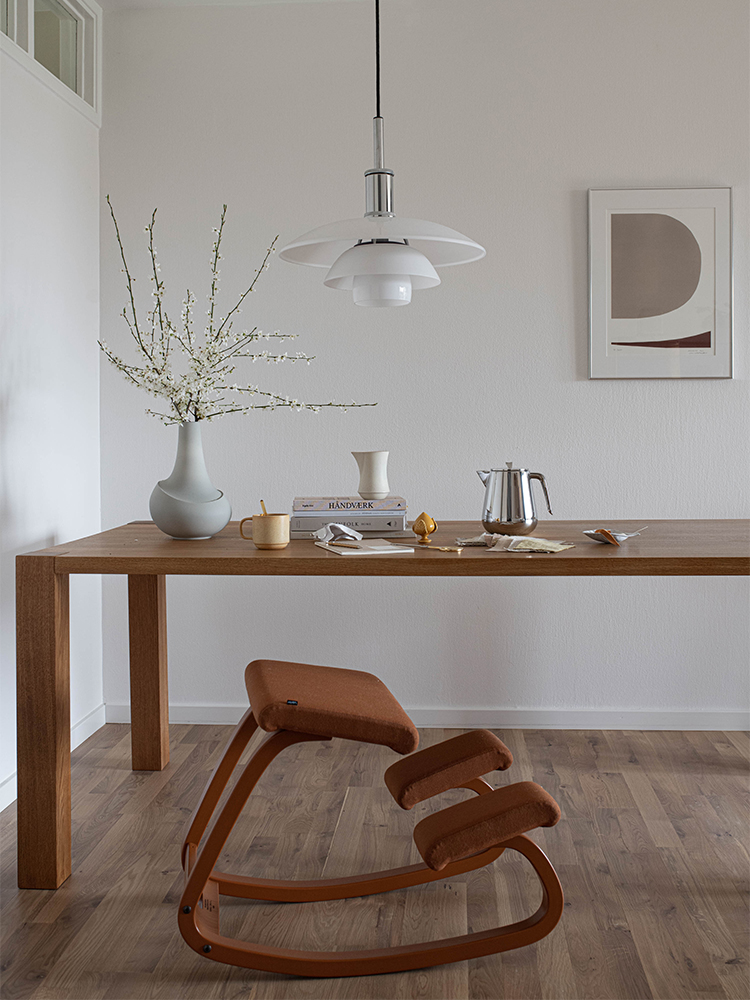 Variable Monochrome in oxide by dining table, a great home office set up