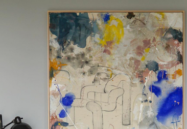 Picture of abstract art piece by Katharina Santl featuring Ekstrem above sofa